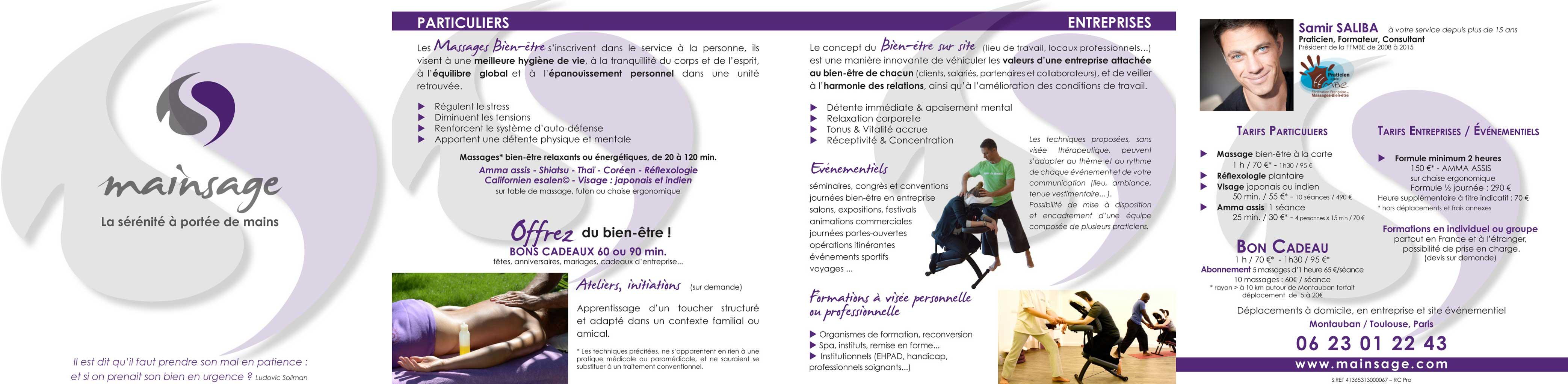 Plaquette présentation & contact Mainsage